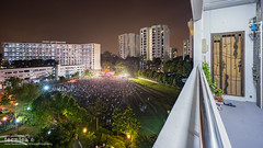 Bukit Panjang Battle I (t3cnica) Tags: city longexposure people urban architecture landscapes singapore rally crowd cityscapes urbanexploration massive hdb dri sdp bukitpanjang urbandwelling dynamicrangeincrease exposureblending digitalblending singaporedemocraticparty ge2015 generalelection2015