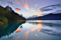 Sun Moon Lake  (Vincent_Ting) Tags: morning sunset sky lake water clouds sunrise dawn pier taiwan galaxy   crepuscularrays  sunmoonlake                  vincentting