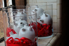 Blood bank (LeBlanc_Nigel) Tags: heart blood jar shelf art modern glass pottery artistic display ceramic red ribbon window white tiles cill aorta valve