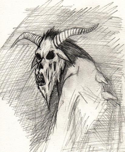 Krampus mutation sketch (ashley russell 676) Tags: monster illustration pencil drawing tide goat yule concept creature mutation krampus
