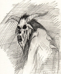 Krampus mutation sketch (ashley russell 676) Tags: monster illustration pencil drawing tide goat yule concept creature mutation krampus