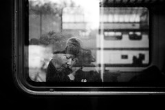 winter train.. (Cem Bayir) Tags: street leica winter people blackandwhite bw woman cold reflection window monochrome train 50mm schweiz switzerland bokeh f14 candid streetphotography rangefinder fullframe summilux asph leicam digitalrangefinder messsucher asperical leicalove leicam240