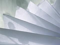 Fan Light Fun (Pufalump) Tags: macromondays justwhitepaper paper white macro light folds shadow shade
