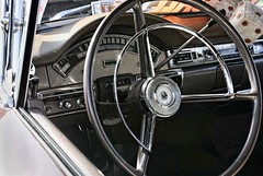 Mid-Century Ford: Cockpit (~ Liberty Images) Tags: classiccar automobile vintagecar chrome pumpkinrun libertyimages white silver steeringwheel ford