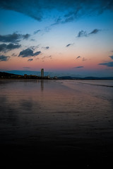 Distance (Re-Edit) (JDWCurtis) Tags: swansea swanseabeach swanseabay beach beachfront sand sandybeach colour burnished sunset tower building silhouette