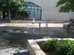 children playing in the fountain