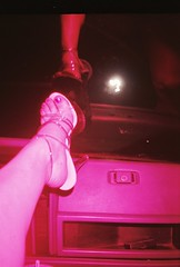 Mo Leg In The Jeep In Magenta (Mo, In The 415) Tags: urban reflection feet foot lomo lomography shoes leg 2006 sacramento colorsplash platforms dahl strippershoes