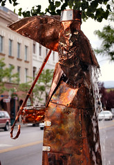 Rainy Day (lawatha) Tags: art water fountain rain metal umbrella rainy copper metalart