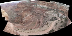 Shafer Canyon Road (s3igell) Tags: road autostitch panorama geotagged utah canyonlands moab nationalparks geo:lat=38453858 geo:lon=109819679 roadstothehorizon remoteroutes
