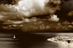 The Lonely Sailboat (WisDoc) Tags: sea sky storm clouds sailboat canon searchthebest lonely stlucia payitforward wisdoc 123bw