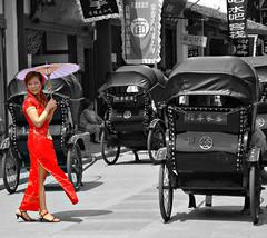 Red Dress (Pat Rioux) Tags: china wedding red bw photoshop dress chengdu sichuan reddress luodai