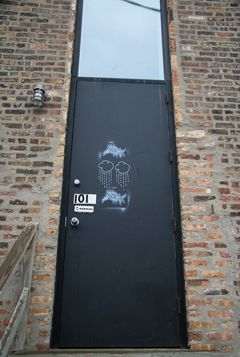 sonny on door with stencil recently added