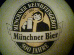 """Augustiner beermat: """"Münchner Reinheitsge..."""