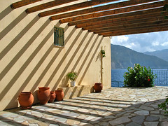 patio with a view (Sabinche) Tags: shadow quality greece kefalonia sabinche assos cephallonia