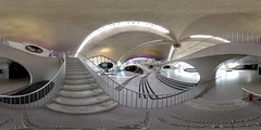 TWA Terminal, Eero Saarinen - 360 Panorama (Sam Rohn - 360 Photography) Tags: nyc newyorkcity panorama newyork stairs geotagged photography photo airport interesting nikon 60s arch steps terminal panoramic jfk queens 1960s top20pano googie escher filmmaking stitched 1962 filmproduction 360x180 saarinen twa eerosaarinen qtvr scouting 360 jfkairport escheresque midcentury 360x180 twaterminal panography filmlocation locationscouting locationscout airterminal equirectangular filmlocations rohn nikoncoolpix5000 transworldairlines filmscouting nylocations samrohn realvizstitcher aia150 locationscouts geo:lat=4064561 geo:lon=73777635 frhwofavs filmscout virtiualtour