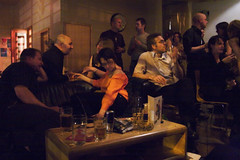 French Artists in Sheffield (21st Century Bar Scene) (Dan Sumption) Tags: portrait topf25 topv555 documentary barscene discuss hcsp scoopt criticismwelcome notstreetstreet streetish