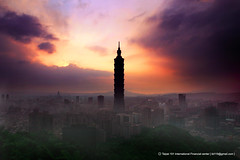 Sunset (*Yueh-Hua 2013) Tags: camera sunset building tower architecture skyscraper canon eos taiwan 101 taipei taipei101 dslr  tamron  30d a16 canoneos30d horizontalphotograph tamronspaf1750mmf28xrdiii 2006july taipei101skyscraper taipei101internationalfinancialcenter top20taiwan