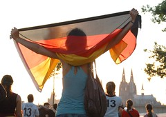 girl with flag (LordKhan) Tags: germany deutschland fan cathedral dom soccer cologne kln weltmeisterschaft worldcup koeln fuball fanfest wm2006 publicviewing germany2006 deutschland2006
