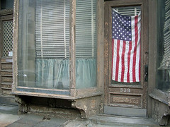NYC #44 (digital_freak) Tags: nyc house newyork window brooklyn flag americanflag williamsburg patriotism starsandstripes digitalfreak