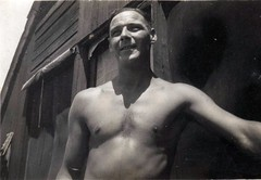 Vintage - Man, Maybe Military (Tobyotter) Tags: shirtless blackandwhite bw man male guy vintage chest vintagescans