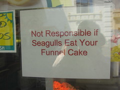 """Not Responsible if Seagulls Eat your Funnel Cake"" Sign"