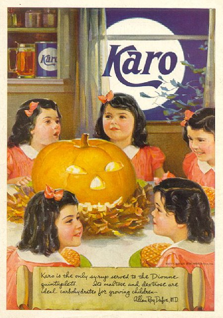Karo Syrup, Dionne Quintuplets Halloween ad, Late '30s