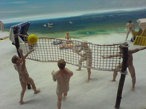 naked volleyball players