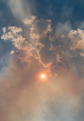 sun through smoke, gash creek fire