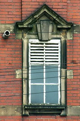 Guesswhere window (Harry Halibut) Tags: red white brick window pool stone telephone images wires baths slats allrightsreserved vents louvres swimmig heeley colourbysoftwarelaziness imagesofsheffield andrewpettigrew