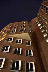 Angled (Andreas Reinhold) Tags: longexposure windows sky house building up lines wall architecture night stars long exposure pattern shadows shot nightshot angle geometry bricks angles rows dsseldorf mediahafen
