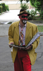 Crimebo the Crime Clown reads from his Big Book of Cr