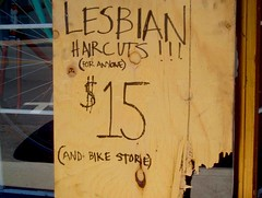 Lesbian haircuts for anyone (and bike store) (sandcastlematt) Tags: street window bicycle sign hair topf50 montreal spokes storefront hairsalon haircuts topf100 knots shopfront knotty bikestore blackmarker rueamherst lesbianhaircuts