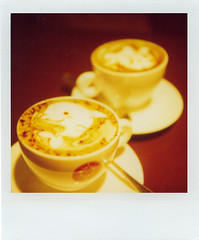 too cute to drink! (kimicon) Tags: polaroid sx70 tokyo cafe 500v20f weekend roppongi cappuccino latteart 600film adatewithmikarin