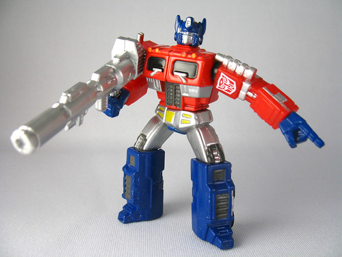 "3"" Titanium G1 Optimus Prime (in Evil Monkey In The Closet mode)"