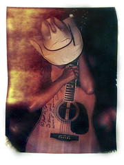 Delaney's Guitar (sol exposure) Tags: self polaroid guitar cowboyhat signed emulsionlift type669 alternateprocessing polaroidlift delaneybramlett tamaguitar ahbeforethenikonwasstolen