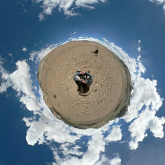 Hitch hiking to another planet ? (Man) Tags: india mountains clouds trekking trek wow waiting rocks hiking gimp panoramas buddhism tibet explore handheld kashmir himalaya himalayas ladakh jammu planetoid hugin 444v4f interestingness40 i500 littleplanet littleplanets manuperez planetoids