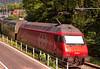 SBB Swiss Federal Railways Class Re 460 electric No.  460 000-3 pushes a train into Interlaken on 12 Aug 2016 (Trains and trams eveywhere) Tags: sbb re460 marssu electric locomotive thun passenger slm krauss sr2 abb switzerland trains railroad railway swissfederalrailways