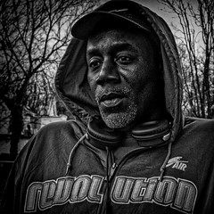 """George Jones, Revolution, """"He Looked In The Distance And Saw Himself Within"""", Martin Luther King Jr. Avenue, Historic Anacostia, Washington, DC (Gerald L. Campbell) Tags: portraitphotography portrait streetphotography street squareformat spirituality socialdocumentary bw blackwhite blackmale citylife community dc washingtondc digital freedom historicanacostia life love martinlutherkingjravenue urbanphotography urban yearning yeswecan canonsx60hs"""