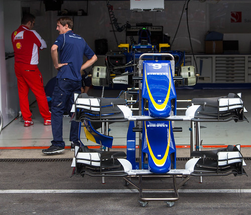 2015 F1 Belgian GP Ferrari guy in Sauber pit