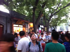 IMG_5775 (elgazzer) Tags: china trees people woman girl shopping grey moving still colorful alone loneliness stripes crowd beijing busy tired lonely colourful hutong isolated crowded