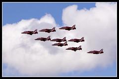 IMG_0503 Red Arrows (scotchjohnnie) Tags: canon airplane hawk aircraft aviation jet canoneos redarrows aerobatic airdisplay northeastengland royalairforceaerobaticteam baehawk newcastleinternationalairport canonef70300mmf456isusm canon7dmkii scotchjohnnie
