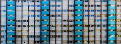 Rennes - L'émeraude (Hervé Marchand) Tags: blue windows building architecture bretagne repetition rennes fenetre immeuble emeraude urbain maillols