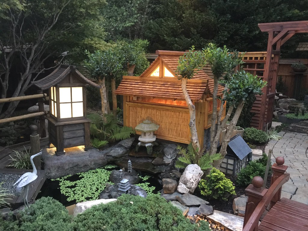 Japanese Garden At Night (My DIY Garden) Tags: Garden Asian Japanese Pagoda  Diy