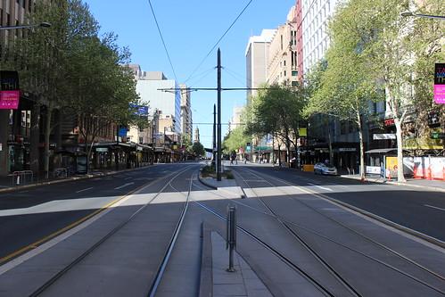 Tram crossover track, King William St, Adelaide