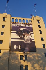 NW football sign hanging from Ryan Field (happily Evan after) Tags: game college field sign football big mural university nw purple ryan stadium 10 helmet il northwestern evanston wildcats big10