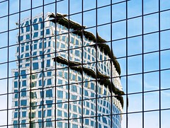 Circumstancial Evidence (Isabelle de Touchet) Tags: city blue sky urban abstract reflection building window architecture mirror geometry highrise orangecounty majestic costamesa ascension isabelledetouchet