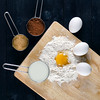 To Dough (Khaled A.K) Tags: food brown black cake studio table photography baking photo wooden milk image dough egg indoor surface powder sugar cups eggs cocoa flour khaled yolk strobes kashkari