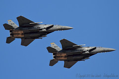 Strike Eagles over the field (JetImagesOnline) Tags: red airplane fighter force eagle flag aircraft military air jet strike boeing base 154 afb f15 nellis f15e