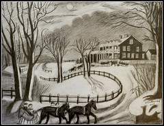 Black & White Pencil Drawing Of Currier & Ives Winter Scene At Night - Drawing Done by STEVEN CHATEAUNEUF 2015 (snc145) Tags: trees winter sky horses people moon snow detail art texture monochrome night clouds pencil wagon fun evening blackwhite shadows seasons hill fences ground nighttime artists copy visualart pencildrawing autofocus currierives thisphotorocks artgalleryandmuseums flickrunitedaward stevenchateauneuf