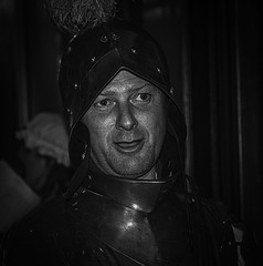 Good Knight (IAN GARDNER PHOTOGRAPHY) Tags: blackandwhite white black monochrome knight banquet armour medeival medeivalbanquet